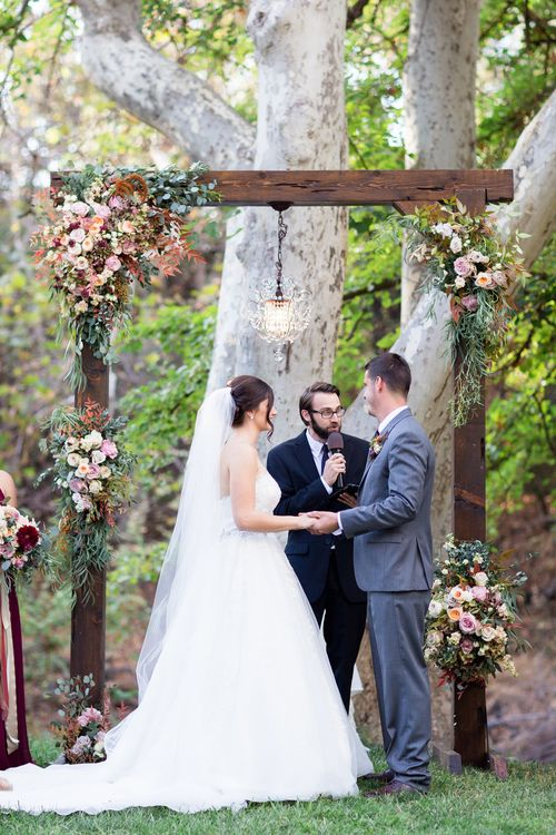 Outdoor Ceremony Wooden Arbor with Flowers | Chico-Wedding-Photographer-Private-Estate-Northern-California-TréCreative