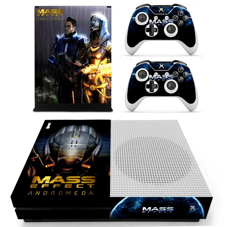 Mass Effect design skin decal for xbox one S console and 2 controllers