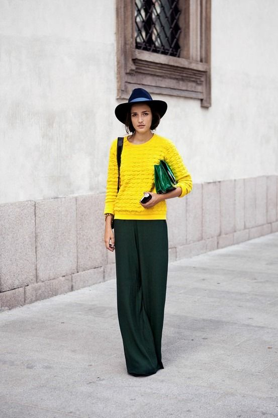 blue + yellow + green: Wide Legs Pants, Colors Combos, Palazzo Pants, Street Style, Long Skirts, Yellow Sweaters, Green Pants, Bright Yellow, Neon Yellow