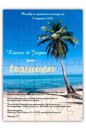 Trouwkaart puzzel Tropical Beach Palm  http://www.trouwkaarten.nu/trouwkaarten/trouwkaarten-puzzel-card/