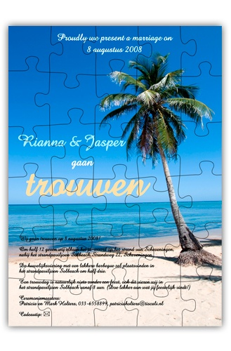 Trouwkaart puzzel Tropical Beach Palm  http://www.trouwkaarten.nu/trouwkaarten/trouwkaarten-puzzel-card/