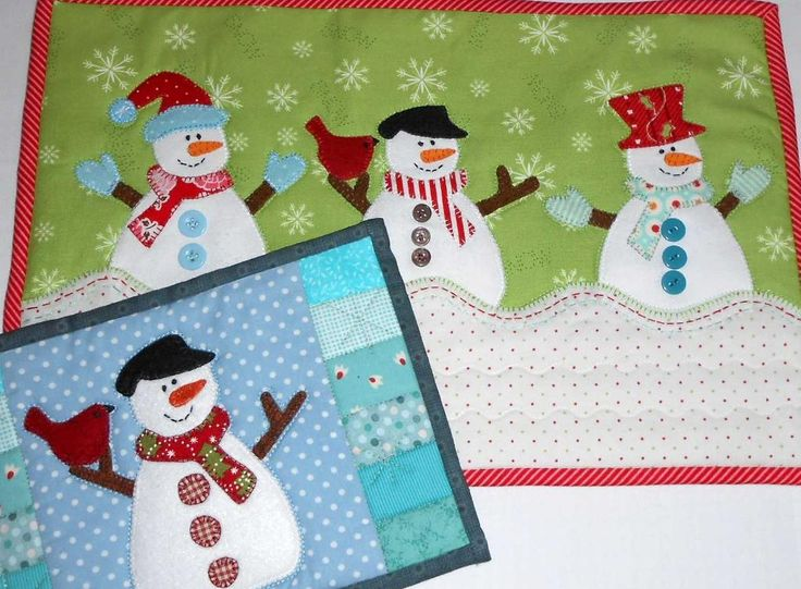 Looking for quilting project inspiration? Check out Snowmen Tray Mat by member The Patchsmith.