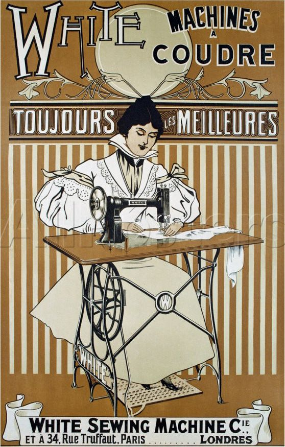 White Vintage Sewing Machine Poster....if I could find one of these machines, I would buy it!!