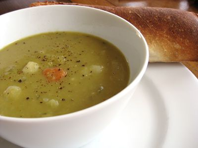 Green Pea and Red Lentil Soup
