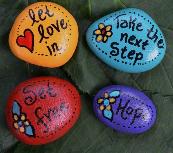 SOUL STONES Love Hope Set Free handpainted inspirational word rocks inspire set of 4