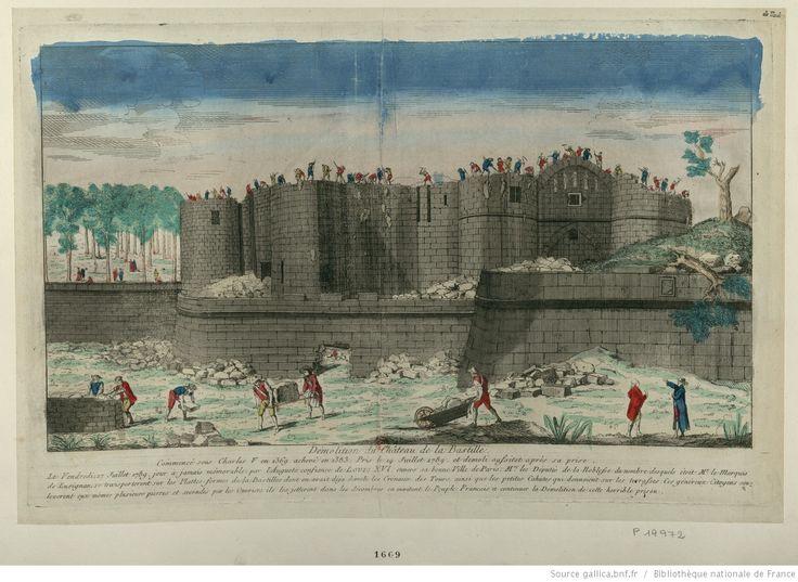 Démolition du Château de la Bastille : Commencé sous Charles V en 1369 achevé en 1383 Pris le 14 juillet 1789 et démoli aussitot après sa prise. Le Vendredi 17 juillet 1789, jour à jamais mémorable... : [estampe] / [non identifié]