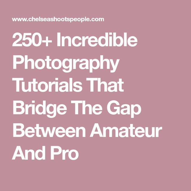 250+ Incredible Photography Tutorials That Bridge The Gap Between Amateur And Pro