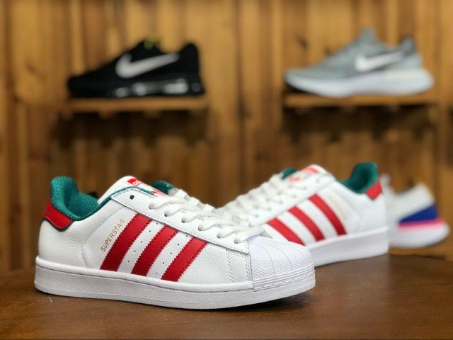 a753a4b46421 Mens Womens Sneakers Adidas Originals Superstar 2 Red White Green Gold  D96974
