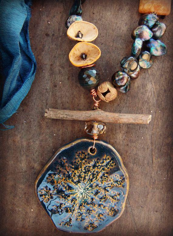moobie grace ceramic necklace rustic statement bohemian boho woodsy dark teal flower seed pods pearls