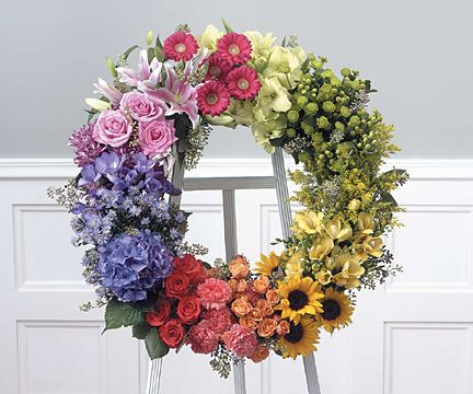 A floral wreath popping with colour