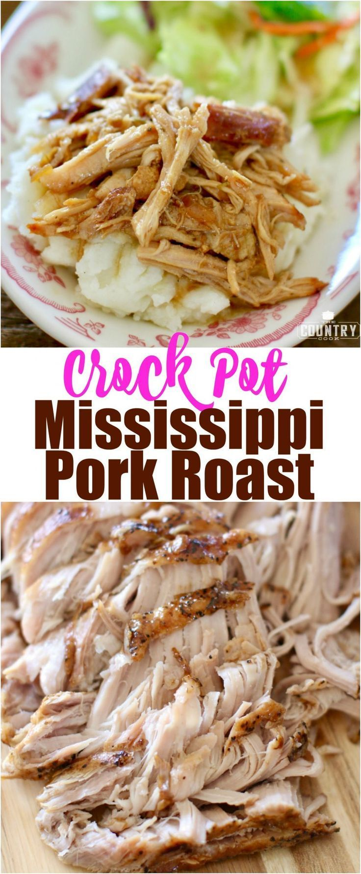 Crock Pot Mississippi Pork Roast recipe from The Country Cook