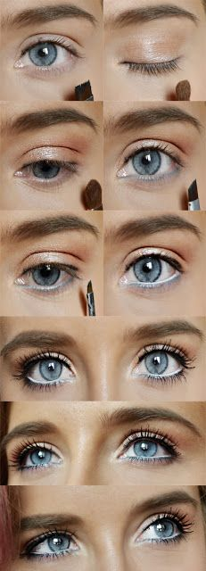 #blue #eyes #makeup, #orange #peach