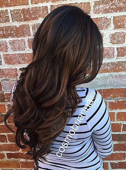 Brunette Black Hair Baylage