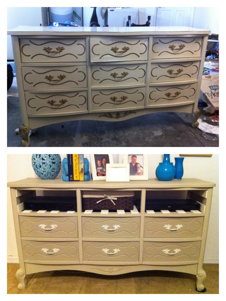 Yard Sale Dresser Before And After. Painted With Chalk Paint And Added  Slats To Transform
