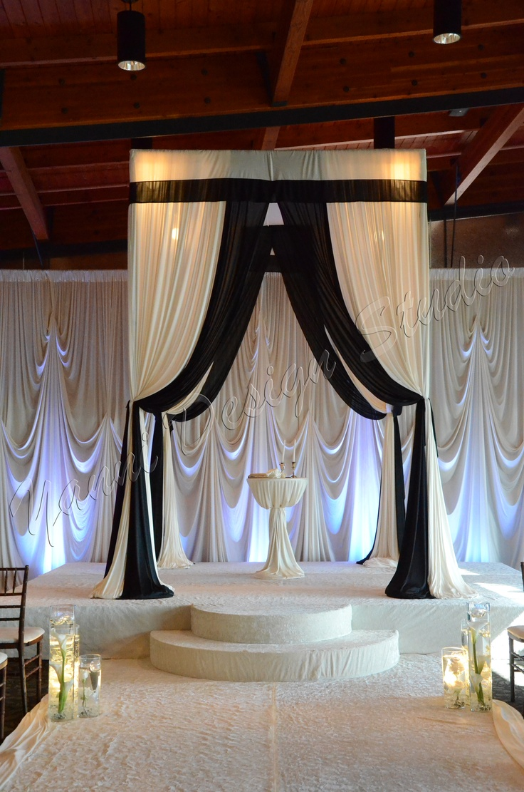 133 best images about tent wedding drapery on pinterest for Black and white wedding decor