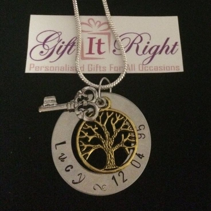 Gold Plated family tree with key Personalized Hand Stamped Necklace by Giftitright on Etsy
