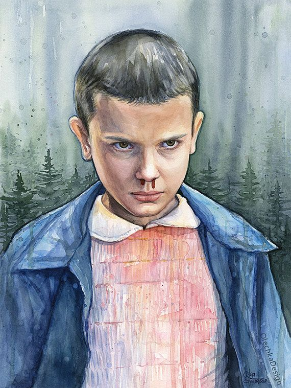 Eleven from Stranger Things Watercolor Portrait, Stranger Things Painting, Artwork
