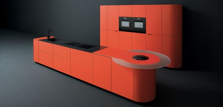 Orange Kitchen Cupboard Design With Large Size And Curved Kitchen Unit With Black Single Basin