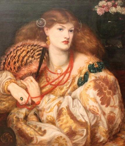 Dante Gabriel Rossetti Monna Vanna 1866 doek 88,9 x 86,4 cm Lofzang op schoonheid en sensualiteit van de vrouw. Cirkelvormige compositie waaraan mouw, haar en houding meewerkt. Ketting komt vaker voor op schilderijen van Rosseti. Prerafaëlieten noemt men de stroming. Deze kunstenaars wilden eenvoud en realisme. Direct voelbare schilderijen. Symboliek en soms ook moralistische afbeeldingen. Invloed op iets latere Jugendstil is zichtbaar.