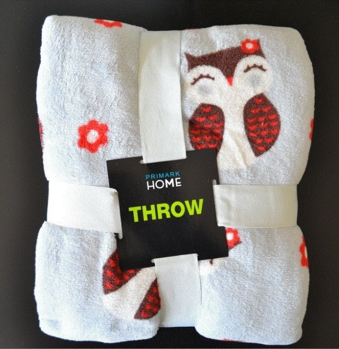 Primark Owl Print Fleece Blanket Throw 150x125cm New