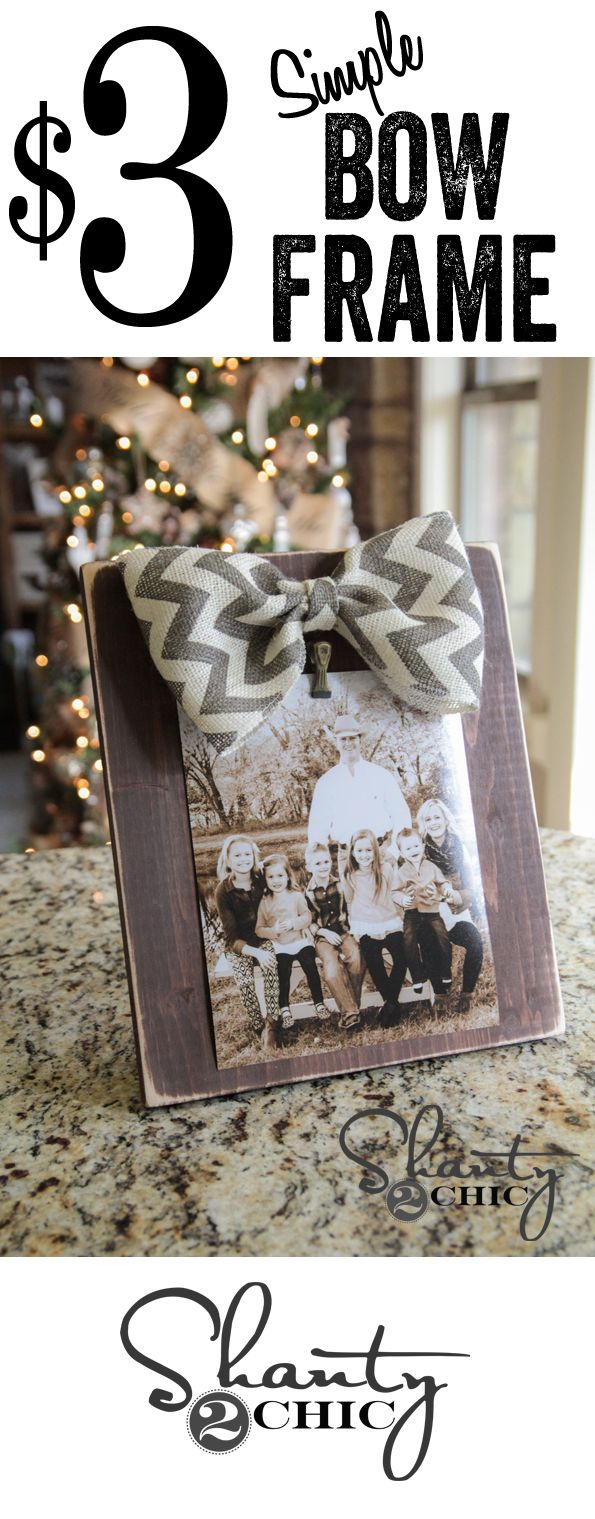 Super cute and easy DIY bow picture frames... Perfect #Christmas gift idea!!