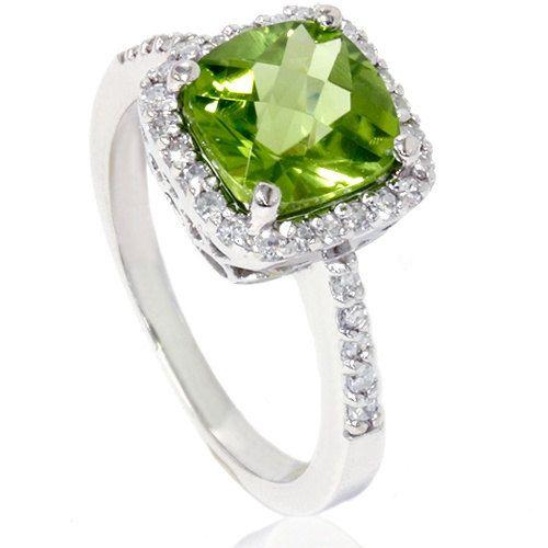Peridot & Diamond Pave Halo Ring by Pompeii3 via Etsy