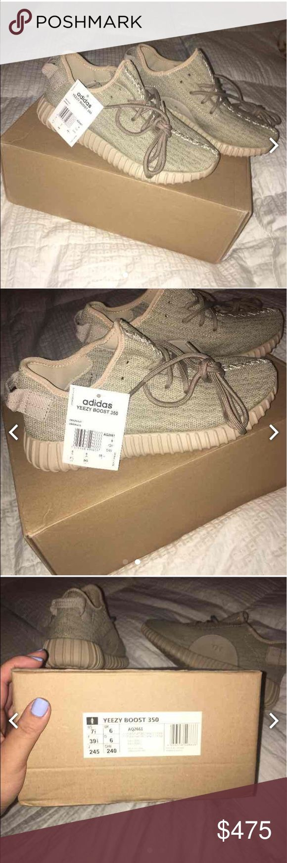 Yeezy boost 350 oxford tan 100% authentic. Ex BF won it in a raffle. Never used. Tried it on once, half a size too big. Size 7.5 fits like an 8. Will take more pictures for proof of authenticity. Also on Mercari. Yeezy Shoes Athletic Shoes