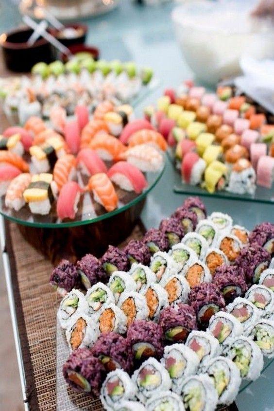 Sushi - fantastic wedding food station idea / http://www.deerpearlflowers.com/wedding-food-bar-ideas/2/