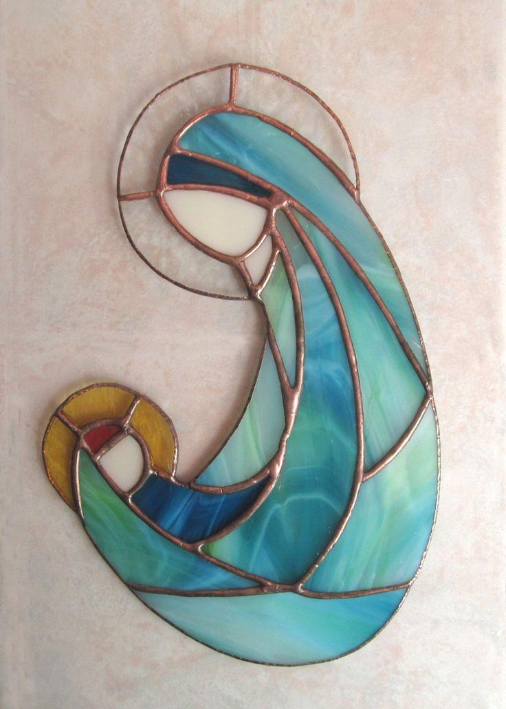VIERGE A L'ENFANT JESUS ✥ BEAU VITRAIL TIFFANY ARTISANAL MATERNITÉ : Décorations murales par magie-du-vitrail