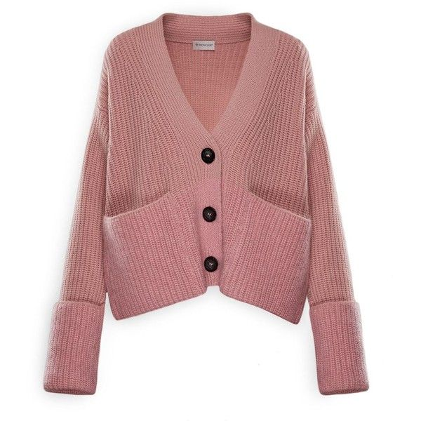 Moncler V-Neck Cardigan ($995) ❤ liked on Polyvore featuring tops, cardigans, pastel pink, oversized cardigans, ribbed top, red cardigan, sleeve top and short-sleeve cardigan