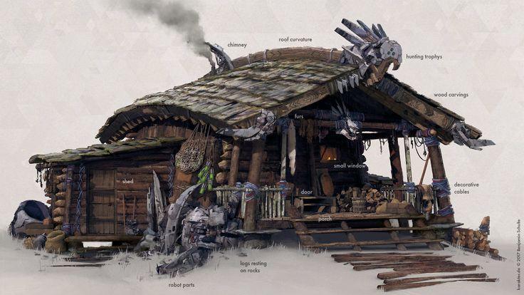 HORIZON: Zero Dawn - Nora hut, karakter design studio on ArtStation at https://www.artstation.com/artwork/ZB2zZ