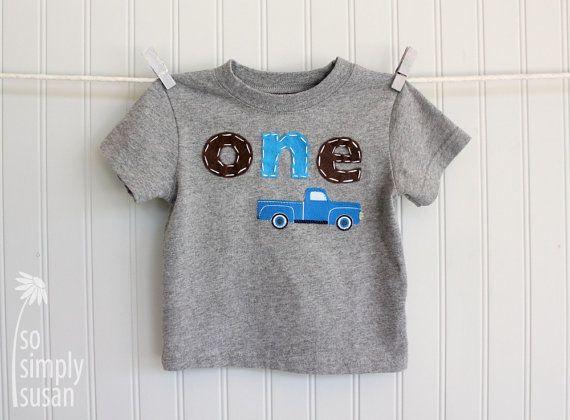 Little blue truck shirt boy's first birthday by SoSimplySusan