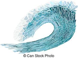 ocean waves mosaic patterns | Mosaic of wave with foam - Abstract vector illustration of...