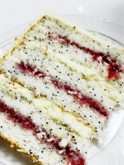 Lemon Poppyseed Cake with Lemon Cream Cheese Frosting and Raspberry Filling   Cake by Courtney