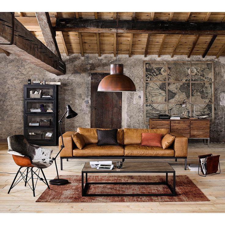 Canapé 4 places en cuir camel Wellington | Maisons du Monde