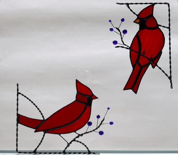 cardinal bird / stained glass window corner.