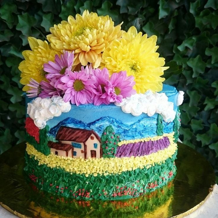 A Tuscany Inspiration Haindpainted Buttercream Cake