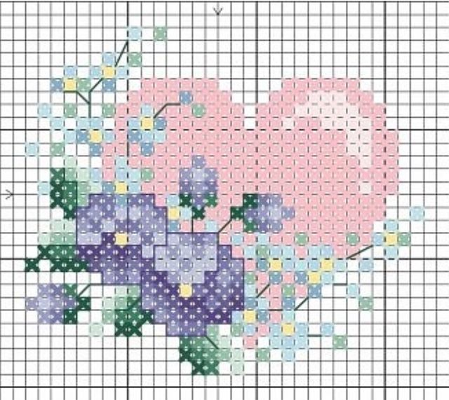 Heart flowers  cross stitch