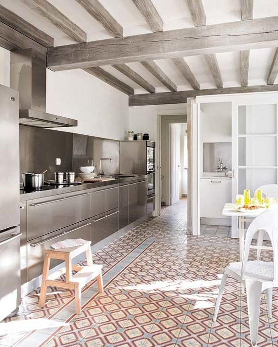 Great Kitchen With Inox Cabinetry And Patterned Cement Floor Tiles