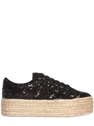 JC PLAY - 50MM SEQUINED ROPE PLATFORM SNEAKERS - LUISAVIAROMA - LUXURY SHOPPING WORLDWIDE SHIPPING - FLORENCE