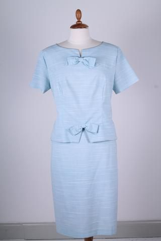 kladde - Lyseblåt sæt 1960. M - Vintage kjoler fra 1960'erne - Vintage Divine - 1