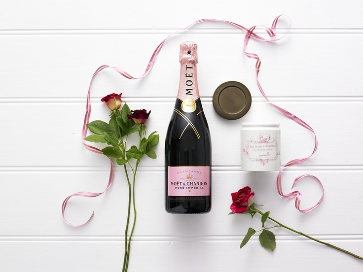 Blushing $180.00  Moet & Chandon Rose Imperial 750ml and Papinelle pink pepper & grapefruit scented soy morning candle in ceramic jar 170g (made in Australia)
