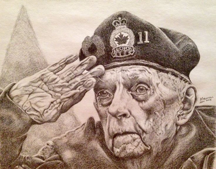 Pencil drawing of a Canadian veteran, Mr. Bruce Bullock, whom I don't know. Wishing to find a way to send this portrait to him.