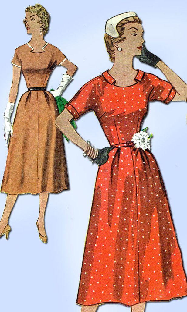 1950s Misses Simplicity Sewing Pattern 4655 Uncut Misses Afternoon Dress Sz 32B