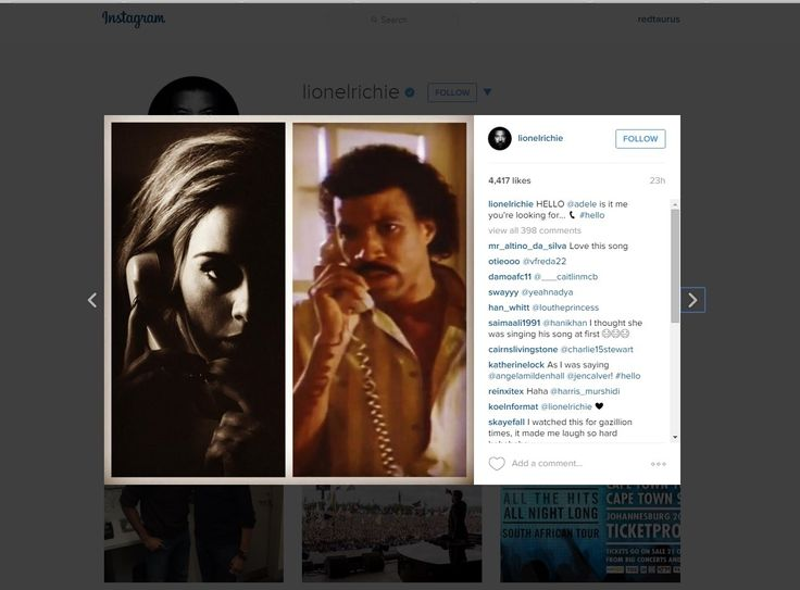 Lionel Richie responds to Adele's song 'Hello' by posting meme on Instagram