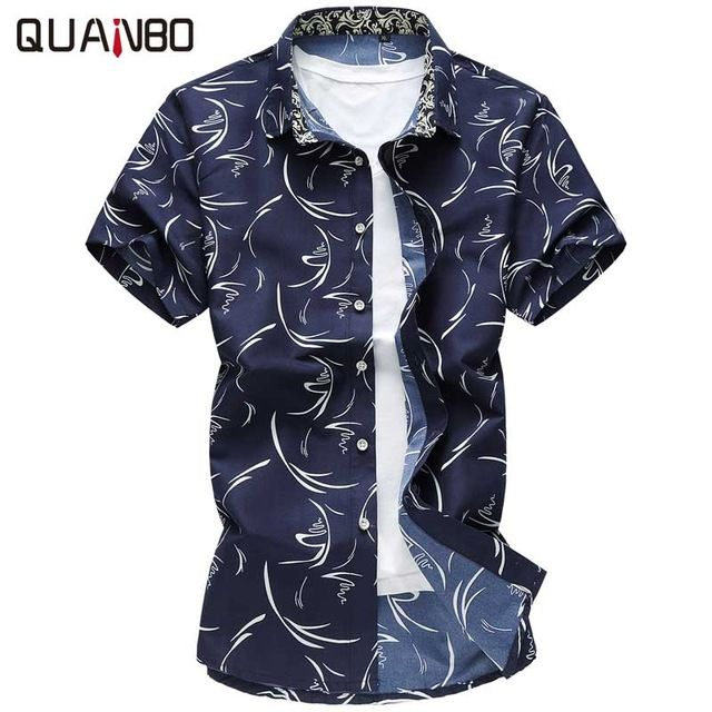 Check current price QUANBO 2017 New Arrival Summer Casual Plus size Print Shirts Short sleeve Men Slim Fit Shirt 6XL 7XL Camisa Masculina just only $11.42 with free shipping worldwide  #shirtsformen Plese click on picture to see our special price for you