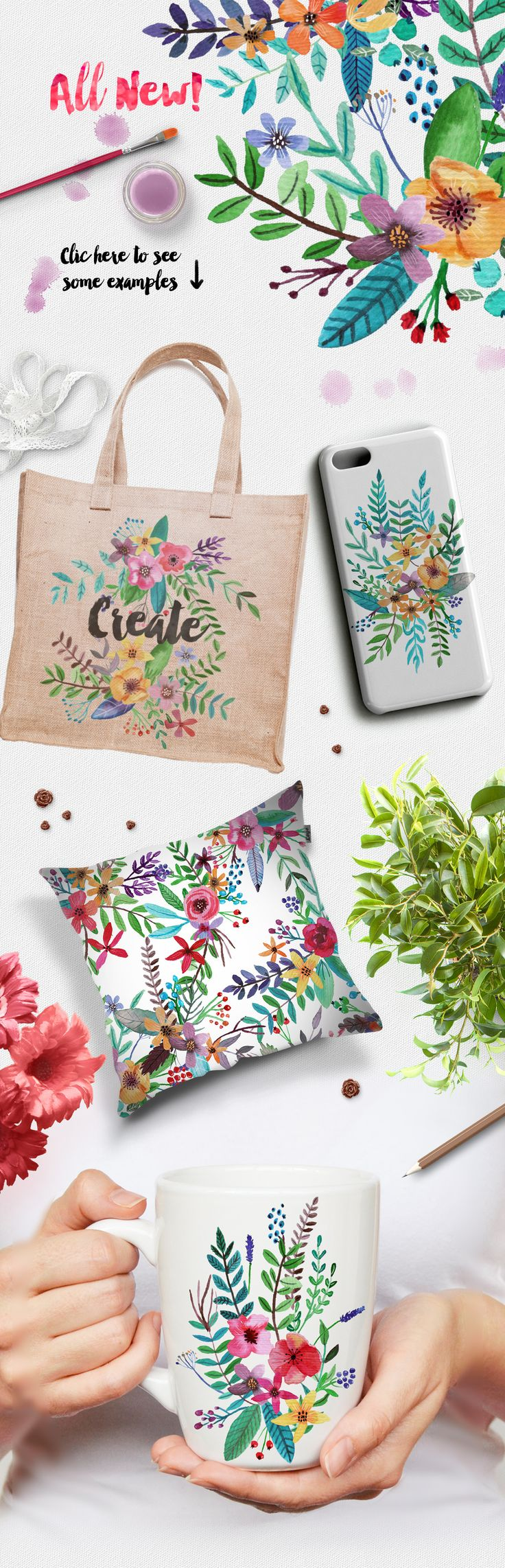 Flowertopia hand drawn watercolor flowers:  Perfect for greetings, branding, websites, digital media, weddings, apparel, packaging, invites, merchandise designs, advertising, graphic design and much more.