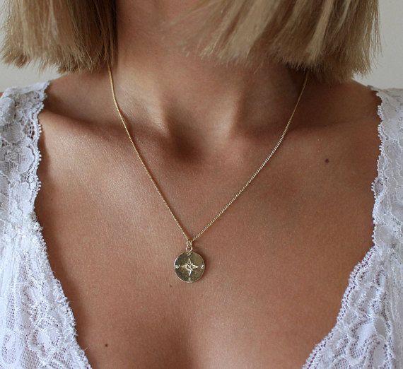 Diamond Circle NecklaceDainty Disc Charm NecklaceMinimalist Jewelry