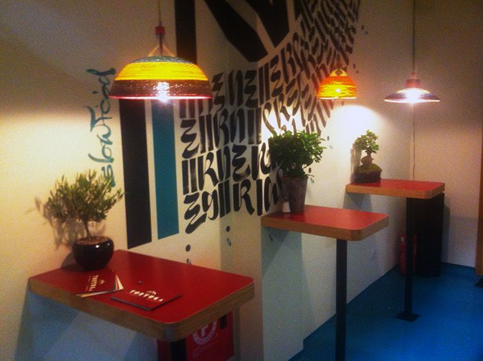 our Chimbarongo lamps in the new Tortuga Street Food bar