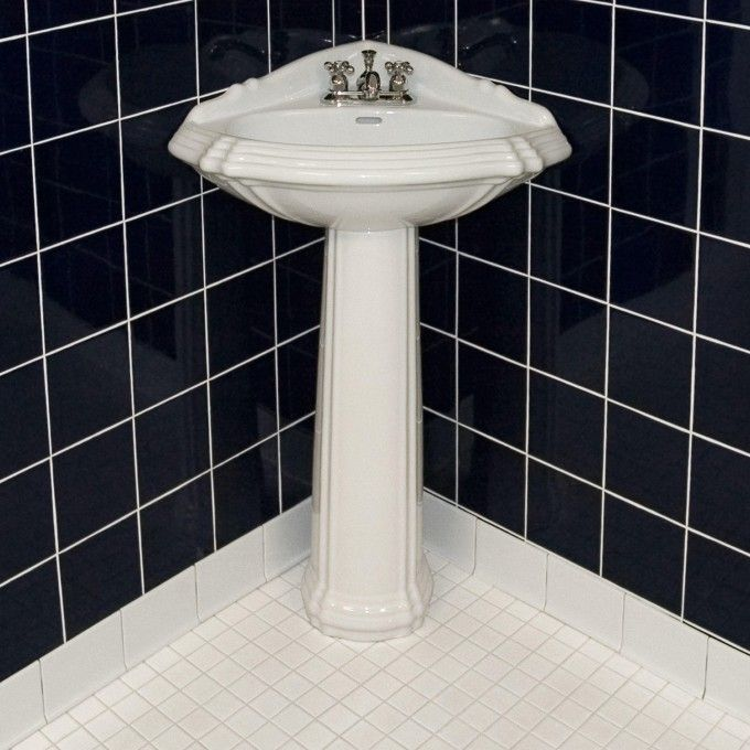 Corner bathroom pedestal sink